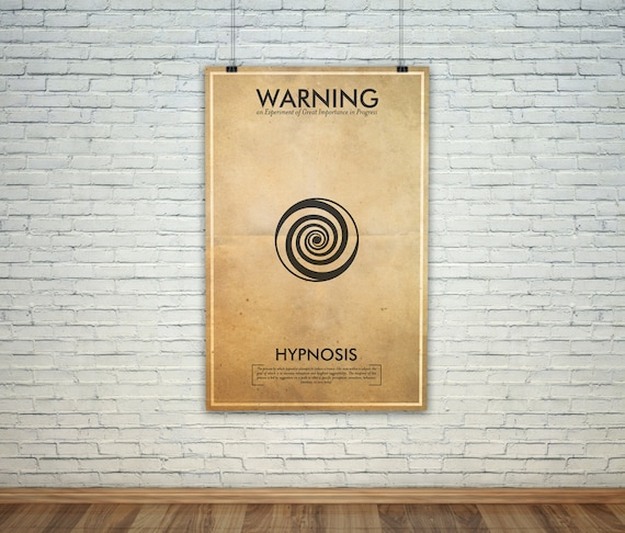 Hypnosis  // Vintage Science Experiment Warning Poster // Finge Inspired Wall Art for the Budding Mad Scientist