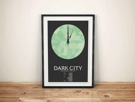 Remake the World // Dark City Alternate Movie Poster // City Clock with Green Faceted Glass and Typography Illustration