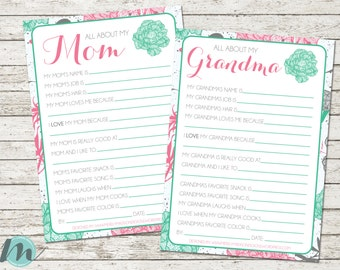 All About My Mom, All About My Grandma, Mother's Day, Digital Download, Mother's Day Printable, 5 x 7, Mother's Day Gift,