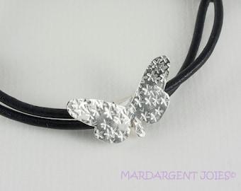 Sterling Silver Butterfly Bracelet Leather Bracelet