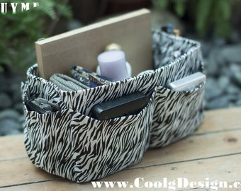 Purse ORGANIZER insert / Bag Organizer / Extra Sturdy / Black and White Zebra Print / Large 25x10cm