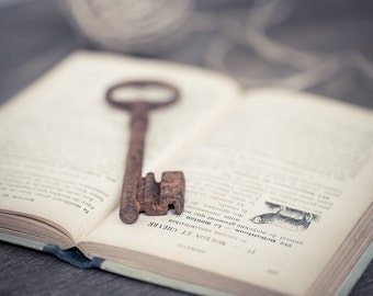 Huge Vintage French Skeleton Key Big Rusty Patina Antique Keys Steampunk Book Mixed Media Country Rustic Romantic Home