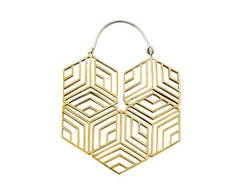 Hexagonal Hoop Medium - Big Hoops - Big Earrings - Boho Earrings