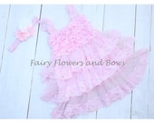 CLEARANCE... Pink  Rustic Lace Chiffon Dress With Matching Headband.......Flower Girl Dress, (Infant, Toddler, Child)
