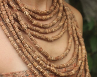 Large Tulsi Wood Beads Necklace