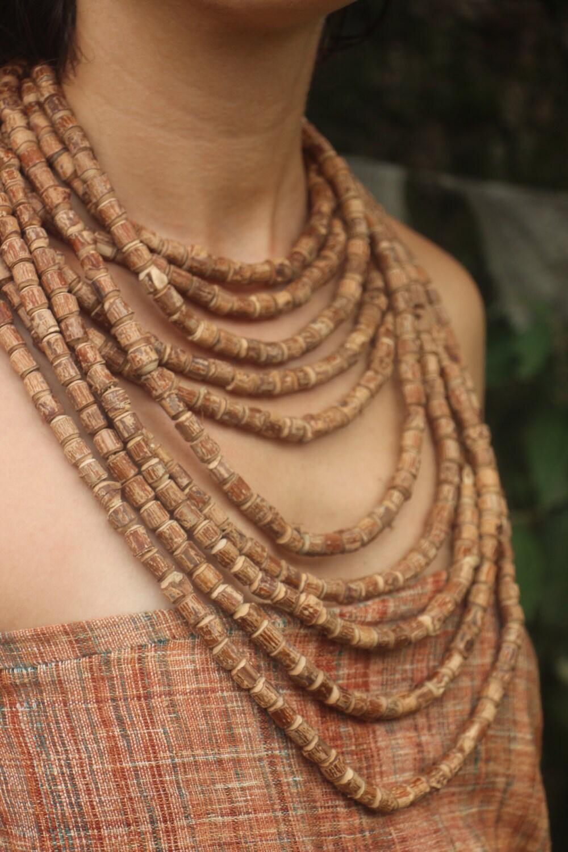 large tulsi wood necklace