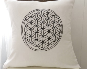 Flower of Life Hand Embroidered Pillow Cover. Wall Art. Sacred Geometry. Meditation Art. Fruit of Life. Geometric Design. Health  Wellness
