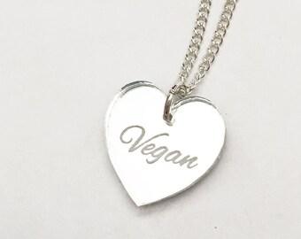 Vegan Necklace - Silver Heart