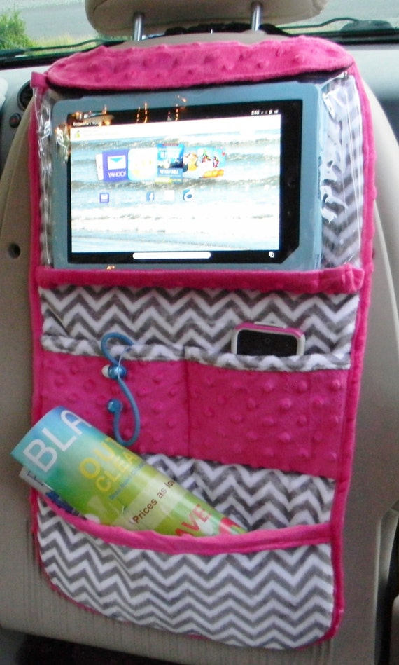Sew A Toy Car Holder : A ipad or tablet holder in grey and white chevron with