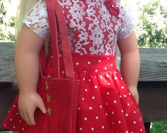 18 Inch Doll Clothes Red and White Polka Dot Skirt Outfit with Bag