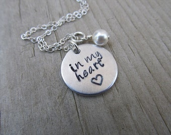 "Loved One Memorial Necklace- Hand-stamped necklace, ""in my heart"" with a stamped heart, and an accent bead in your choice of colors"