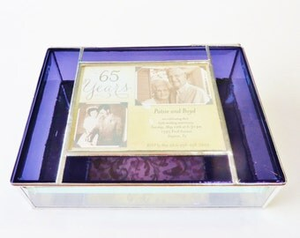 Stained Glass Keepsake Gift Box 65th Wedding Anniversary Gift Bride Groom Wedding Invitation 6x8x2 Handmade Custom Made-to-Order