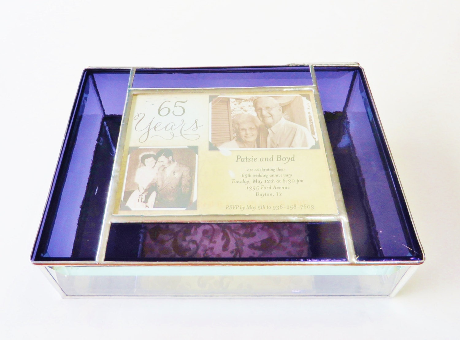 65th Wedding Anniversary Gift Ideas: Stained Glass Keepsake Gift Box 65th Wedding Anniversary Gift