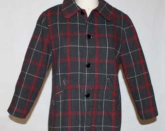1940s Black / Red Chek Womans Jacket Size 36