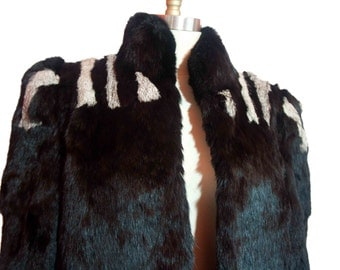 Sergio Valente Black /White Rabbit Fur Jacket Size 36