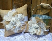 PERSONALIZED Burlap Lace Ring Pillow and Flower Girl Basket Bucket Pail, Custom burlap ring pillow, Ring Pillow and Flower Basket Set