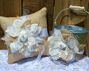Burlap Ring Bearer Pillow, Burlap Ring Pillow, Burlap Flower Girl Basket, Ring Pillow and Flower Basket, PERSONALIZED Ring Pillow and Basket