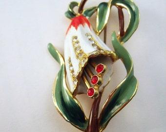 Coro enamel flower brooch early forties