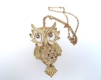 Owl Pendant Necklace Wiggly Eyes Goldtone Large