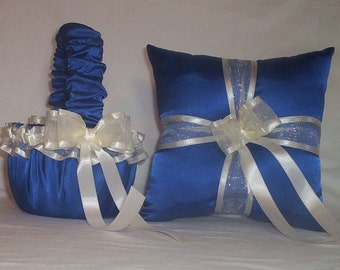 Blue Horizon Satin With Ivory Cream Ribbon Trim Flower Girl Basket And Ring Bearer Pillow Set 3