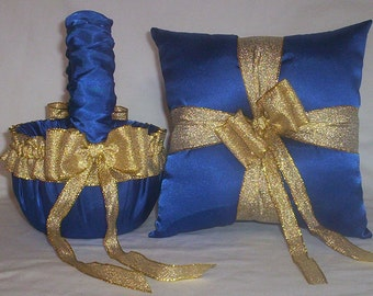 Blue Horizon Satin With Gold Metallic Ribbon Trim Flower Girl Basket And Ring Bearer Pillow Set 2