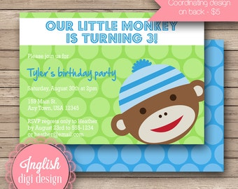 Printable Sock Monkey Birthday Party Invitation, Sock Monkey Birthday Party Invite - Silly Sock Monkey in Green and Blue