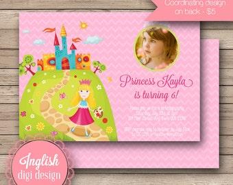Printable Fairytale Princess Birthday Party Invitation, Princess Birthday Party Invite, Princess Party Invite - Fairytale Princess in Pink