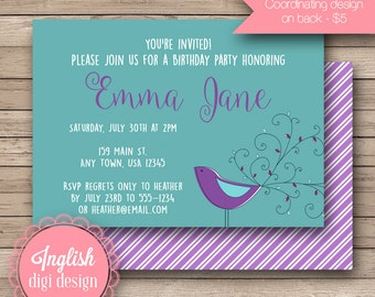 Printable Peacock Birthday Party Invitation, Peacock Birthday Party Invite, Peacock Party Invite - Whimsical Peacock in Teal, Purple