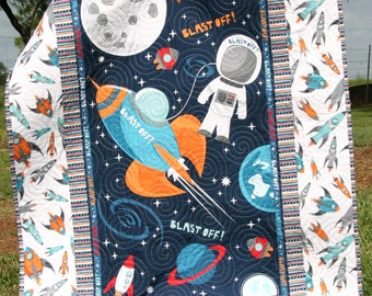 Reserved for Mary Space Quilt Baby Boy Blast Off Outer space Spaceship Rocket Planets Moon Crib Bedding Nursery Decor Blue Orange Astronaut