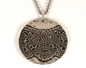 lace doily pendant, handmade, solid sterling silver, anniemjewelry