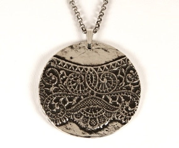 lace doily pendant, handmade, solid sterling silver, annie montgomery jewelry