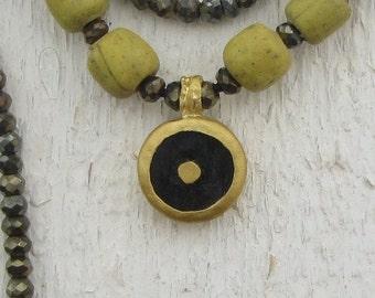 24k Gold Necklace - Onyx, Pyrite & Glass Beads Necklace