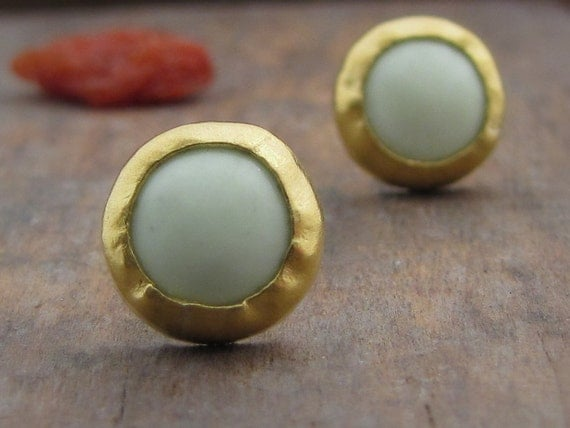 Gold  earrings Studs - Lemon Jade Studs - 24k Solid Gold Studs - Gold  Post Earrings