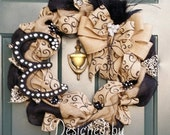 Blingy Burlap and Black Initial Wreath