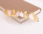 Blossom and leaf haircomb, bridal hair comb, bridesmaids comb, cherry blossoms comb, pink flower haircomb