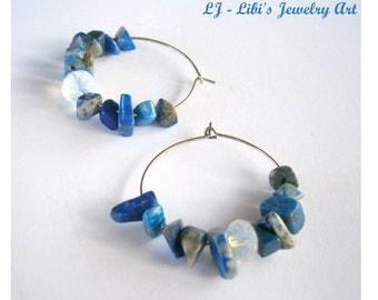 SALE lapis hoop earrings blue moonstone hoop gemstone earrings silver hoop dangle pendant earrings nautical summer fashion earring