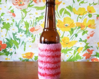Felted Bottle Cozy - Cupid Stripes - Pink & Red