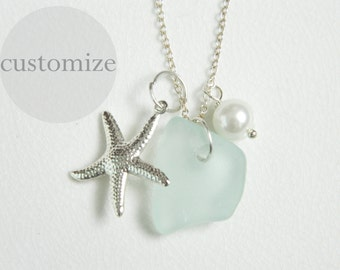 CUSTOM Sea Glass Cluster Necklace, Pearl and Starfish Charm, Genuine Chesapeake Bay Beach Glass Jewelry, Bridesmaids Necklaces
