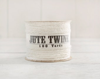 Jute Twine - 100 Yard Spool of Twine, 2-Ply Rustic Craft String, Ivory Cream