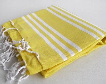 SALE 50 OFF/ Turkish Beach Bath Towel / Classic Peshtemal / Yellow / Wedding Gift, Spa, Swim, Pool Towels and Pareo