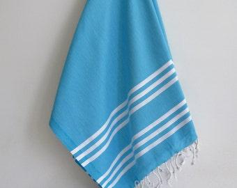 SALE 50 OFF / Turkish Beach Bath Towel / Classic Peshtemal / Blue / Wedding Gift, Spa, Swim, Pool Towels and Pareo