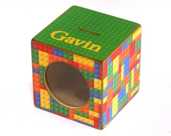 Kids LEGO Wood Piggy Bank Box Childs Coin Bank with Window - LEGO Building Blocks - Personalized
