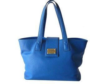 Authentic Valentina Cerulean Blue Leather Travel Tote Shopper Made in Italy XL