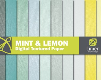 Mint Yellow Gray Textured Digital Paper Pack, Fabric Texture Scrapbook Paper, Textured Paper, Textured Background, Fabric Digital Paper