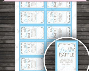 Little Prince Baby Shower Diaper Raffle Tickets Printable - Instant Download - Blue Baby Shower Games - Boy Baby Shower Diaper Raffle Cards