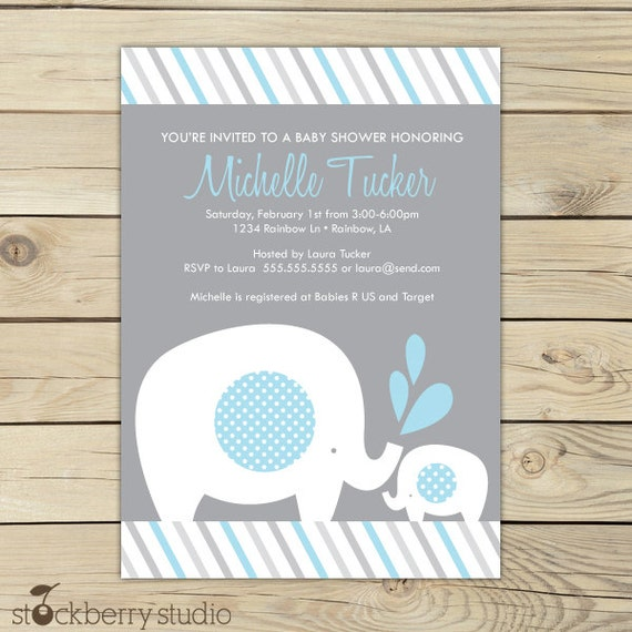 Yellow Elephant Baby Shower Invitation Printable Yellow and