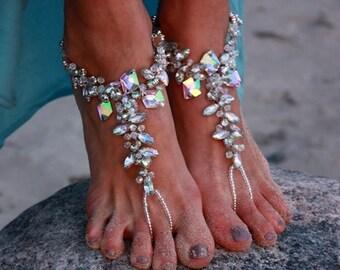Beach Wedding Barefoot Sandal,Bridal Swarovski Crystal Sandal,Boho Slave Anklet,Wedding Anklet,Bridesmaid Accessories.ALIYA BAREFOOT SANDALS
