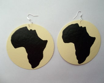 "African American Africa shaped urban neo soul Kenya earring bone ebony ivory black mud cloth style basketball wives 3"" round handmade gifts"