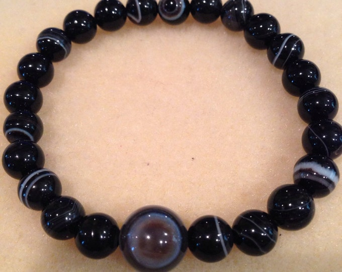Eyes in the Back of Your Head Protection Botswana Evil Eye Bullseye Agate 8mm & 12mm Round Bead Stretch Bracelet