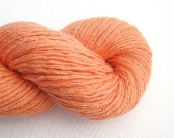 Sport Weight Cashmere Cotton Blend Recycled Yarn, Tangerine Orange, Lot 070715